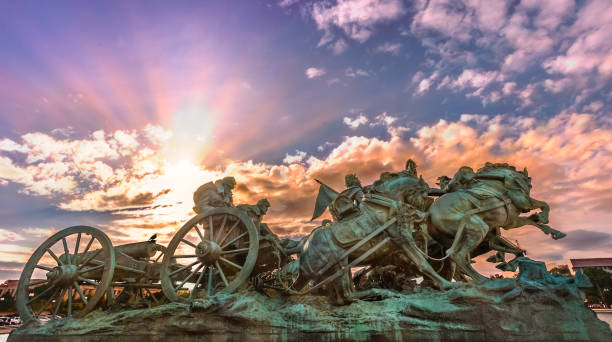 artillery civil war monument at the united states capitol in washington, dc - civil war stock photos and pictures
