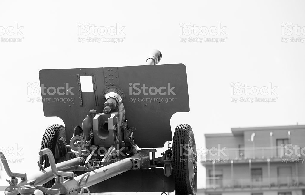 artillery fire in the city, black and white conception stock photo