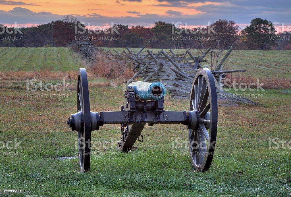 Artillery near a fence line in Gettysburg, Pennsylvania stock photo