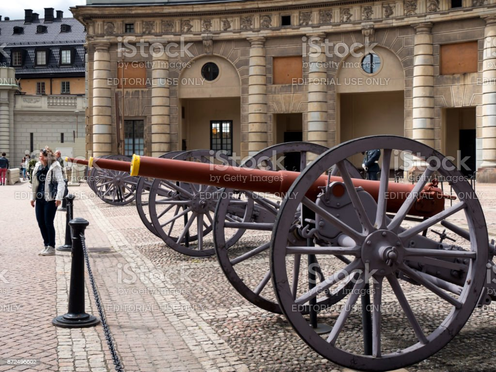 Artillery pieces at the Royal Palace, Stockholm stock photo