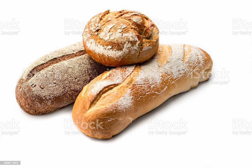 Artisan Bread Stills on white: Variety stock photo