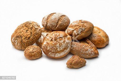 istock Artisan Bread Stills on white: Variety 521046762