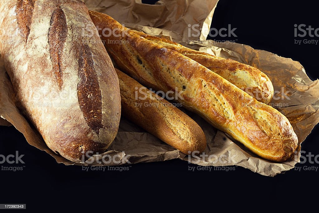 Artisan Breads On Brown paper royalty-free stock photo
