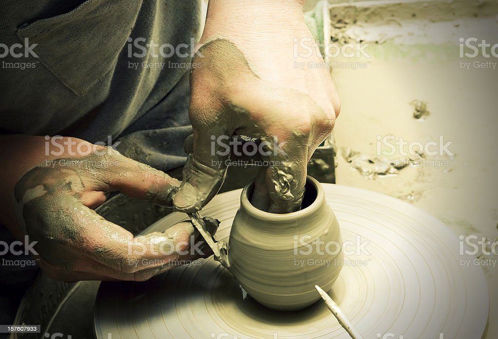 Artisan ceramist at work in Vietri Sul Mare (Italy) royalty-free stock photo