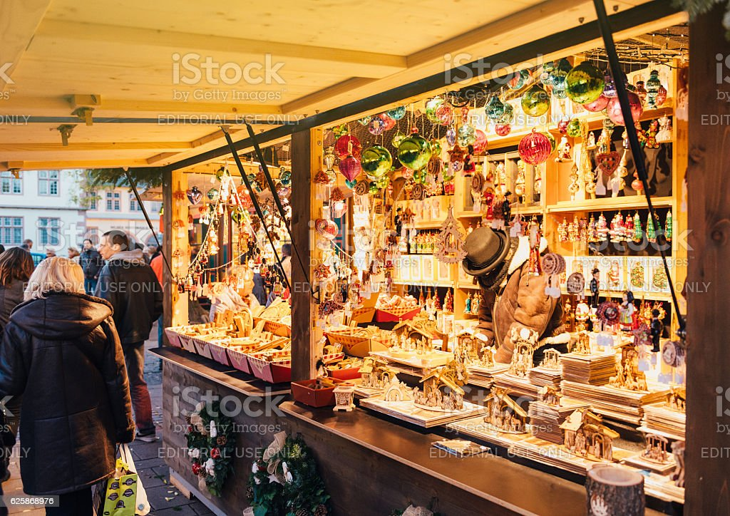Artisan christmas market business shopping toys traditional stock photo