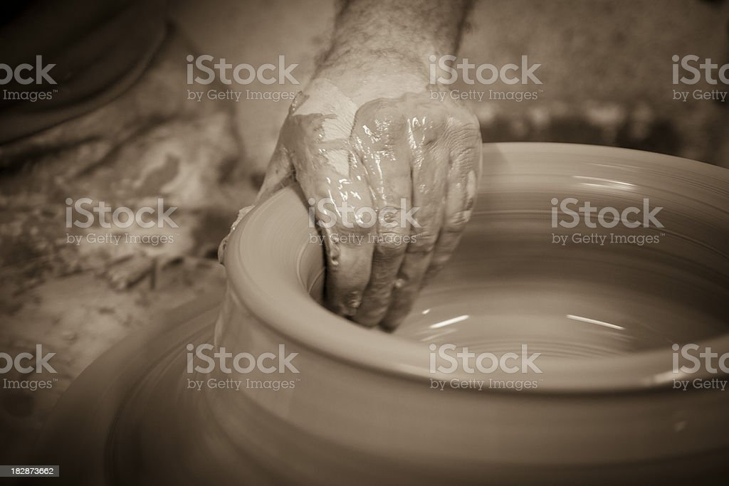 Artisan clay pottery at work in Vietri Sul Mare (Italy) royalty-free stock photo