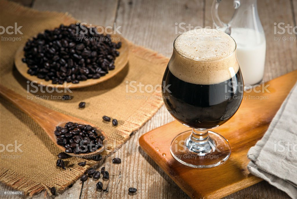 Artisan craft cold brew nitro gourmet coffee espresso coffee beans stock photo