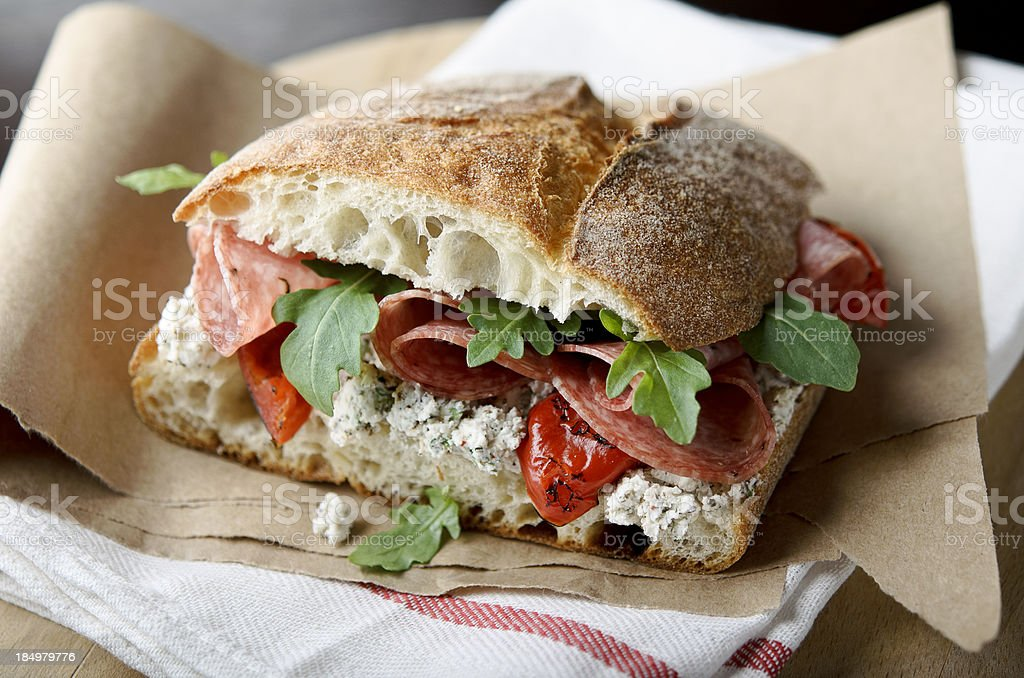 Artisan Salami Sandwich royalty-free stock photo
