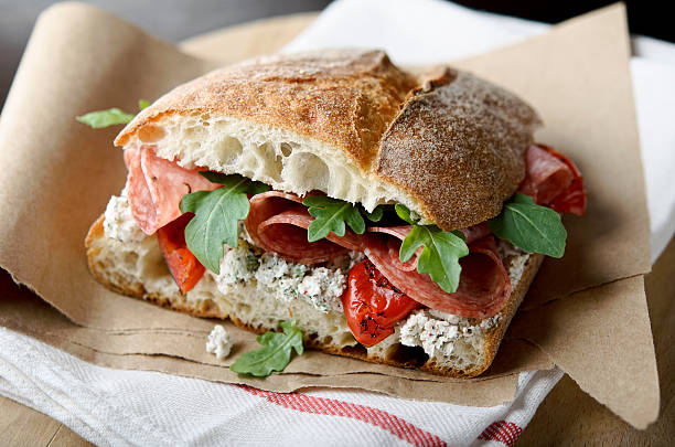artisan salami sandwich - sandwich stock pictures, royalty-free photos & images