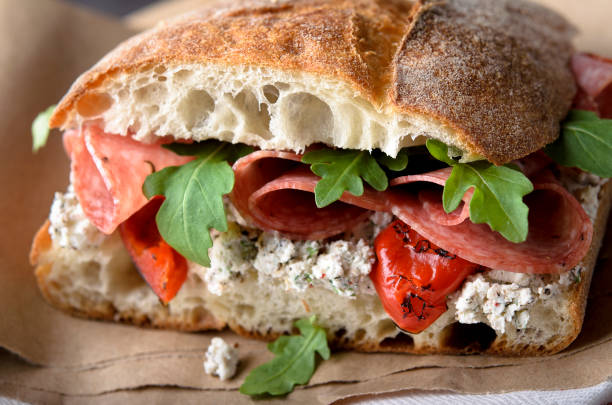 artisan salami sandwich - panino ripieno foto e immagini stock