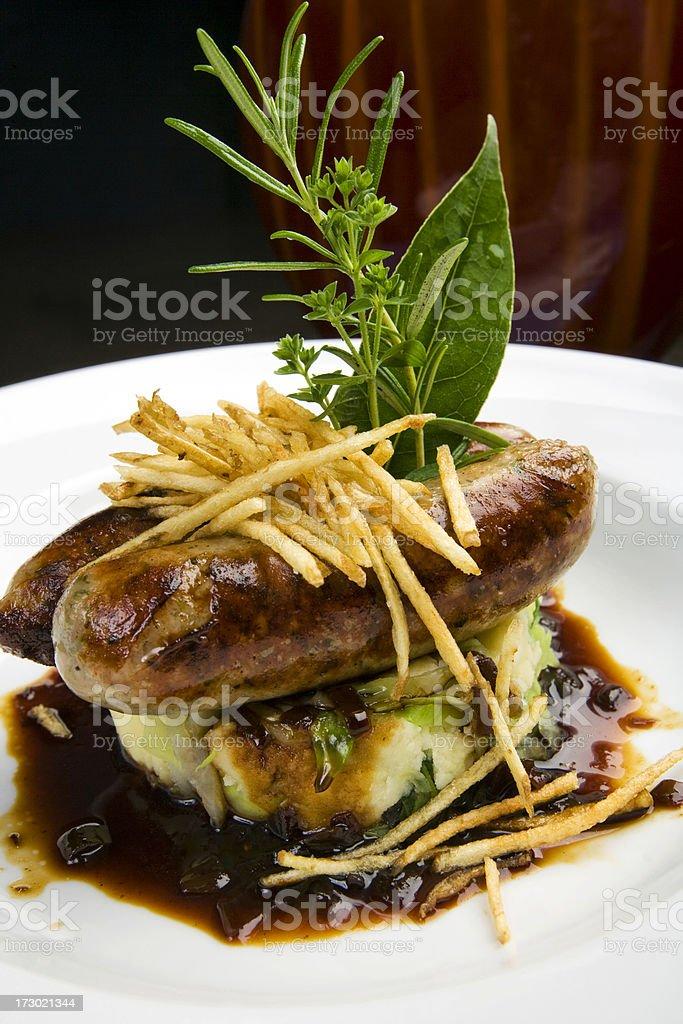 Artisan Sausages with Irish colcannon royalty-free stock photo