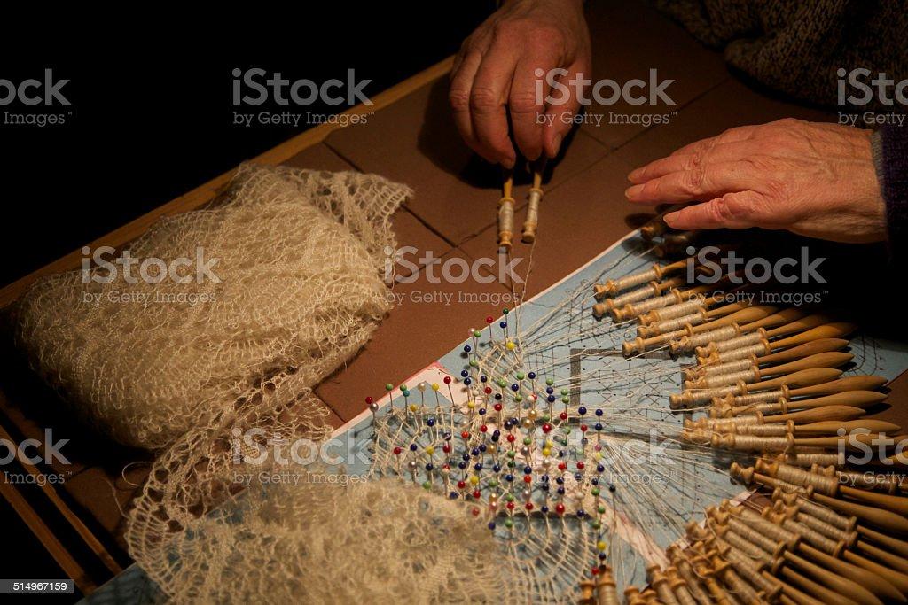 Artisan tatting lace stock photo