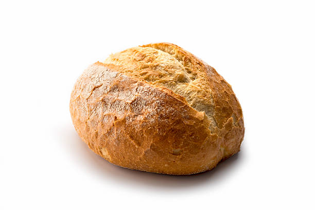 artisan  white Bread High angle view fresh loaf of homemade bread on white background round loaf stock pictures, royalty-free photos & images