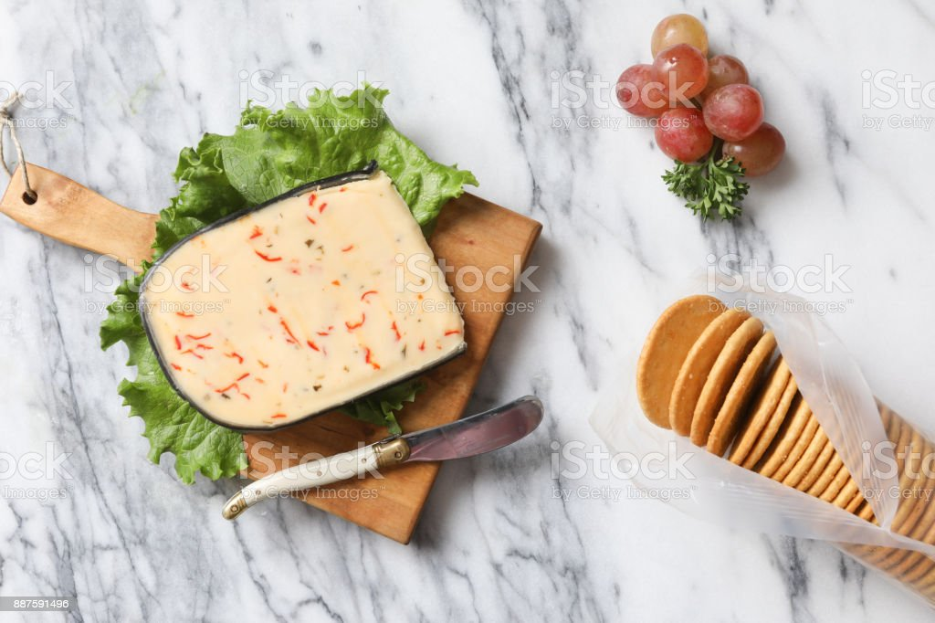 Artisanal Cheese And Crackers stock photo