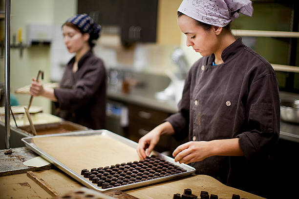 Artisanal chocolate production stock photo