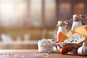 istock Artisanal dairy products in rustic kitchen front view 918905152