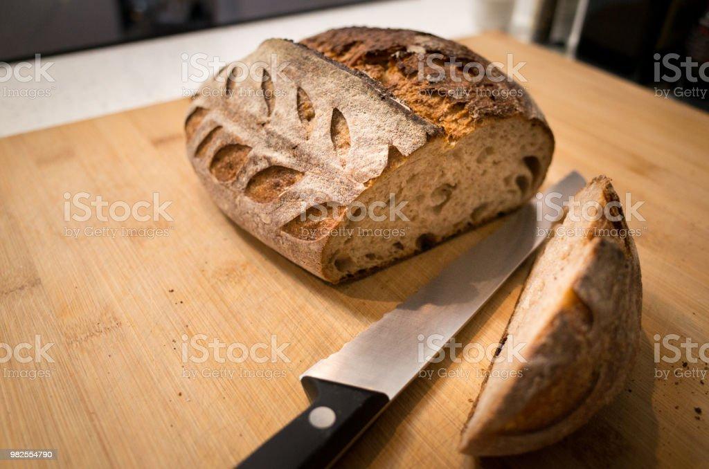Artisanal Organic Wholewheat Bread stock photo