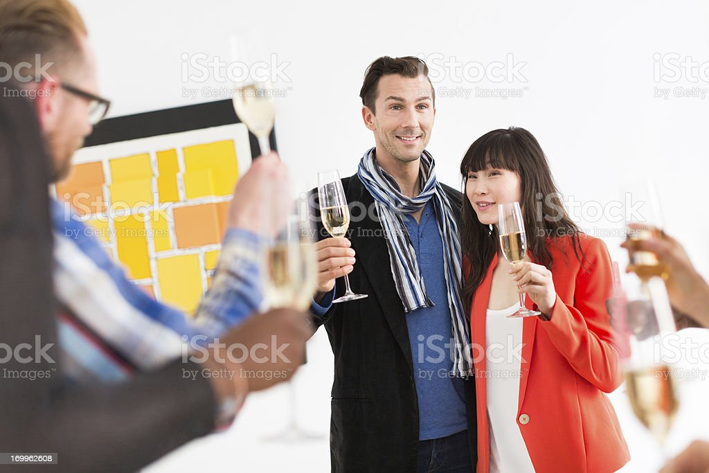 Artist And Gallery Owner During Opening stock photo