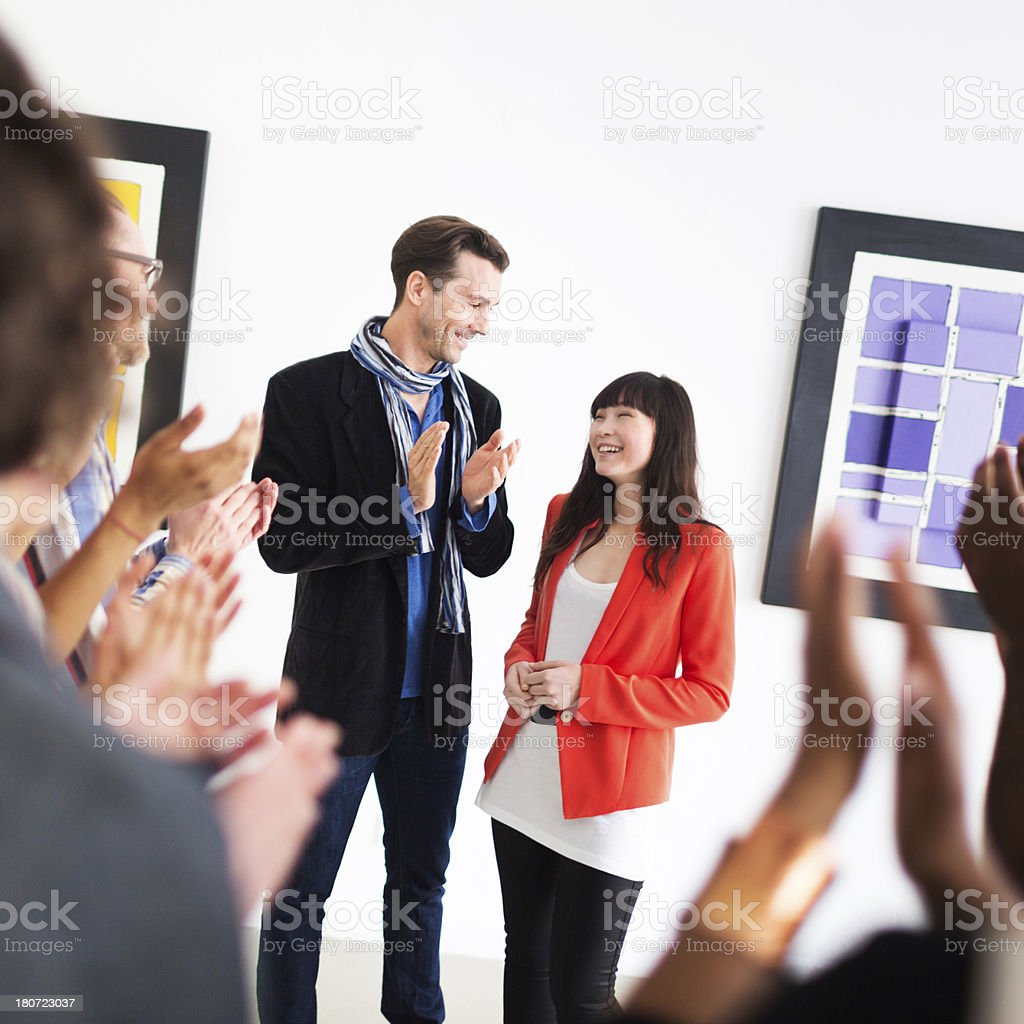 Artist And Gallery Owner During Opening royalty-free stock photo