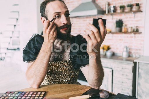 istock Artist applying make-up and wears a dress 1079639422
