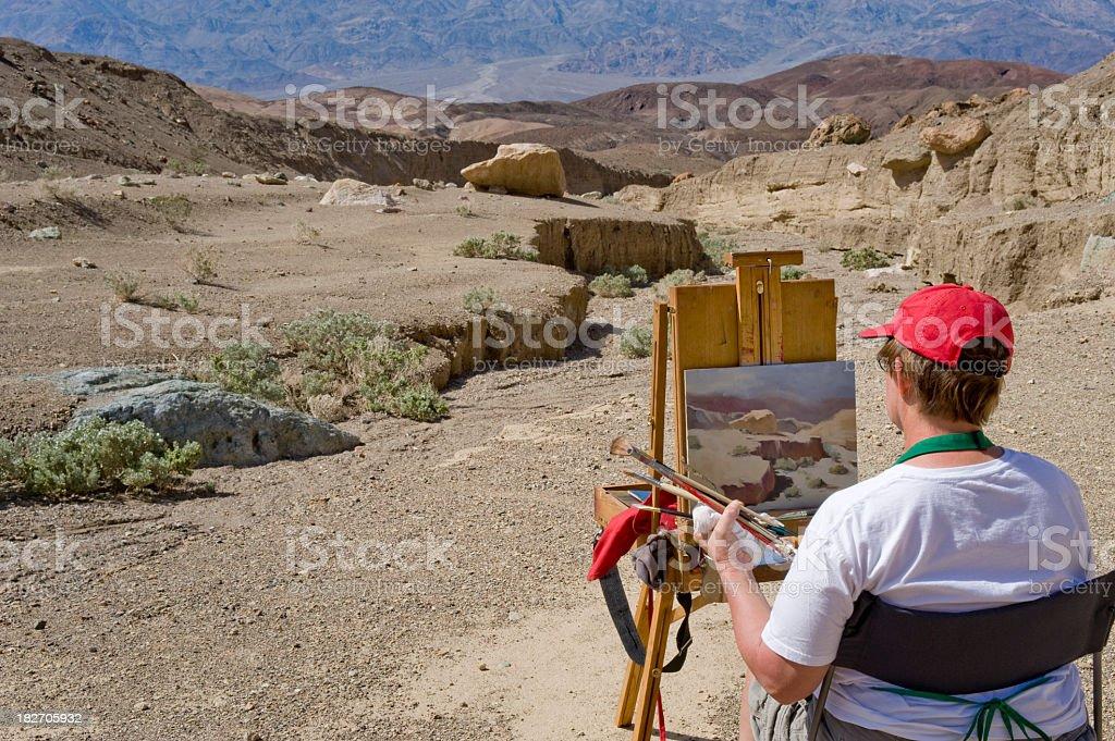 Artist at Work, Plein air, Death Valley royalty-free stock photo