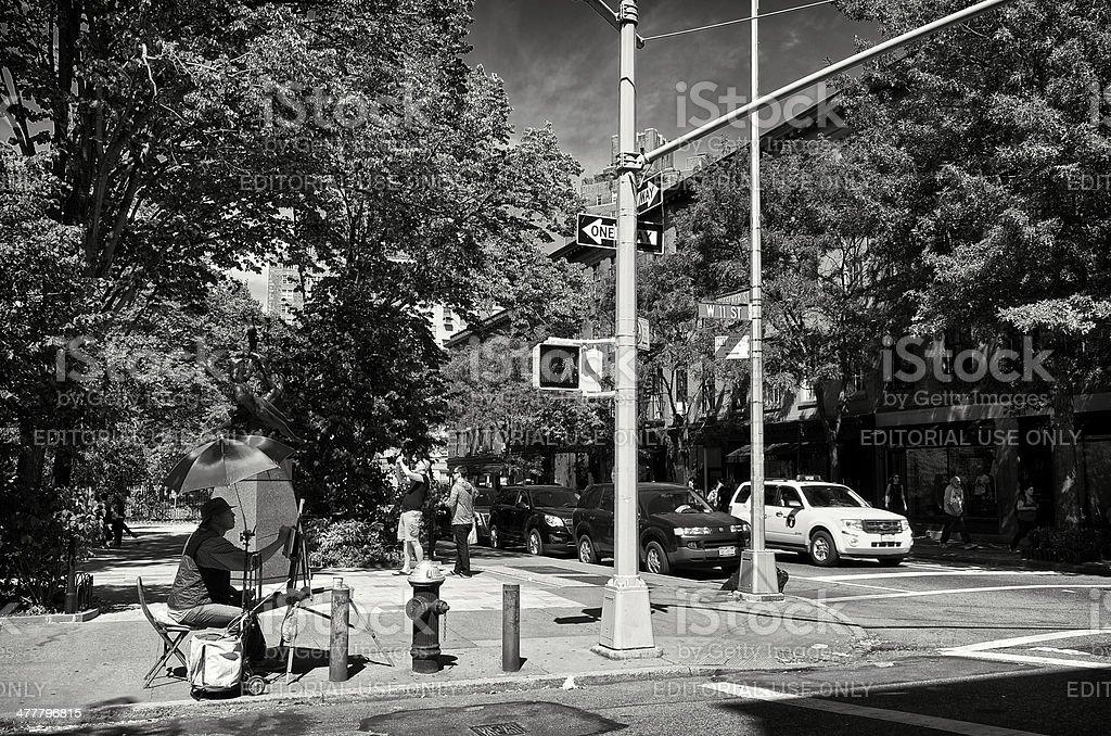 Artist at work, West Greenwich Village, Manhattan, NYC royalty-free stock photo