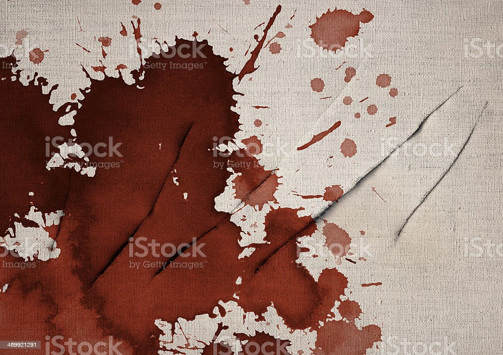 Artist Bloodstained Slit Linen Primed Canvas Grunge Texture stock photo