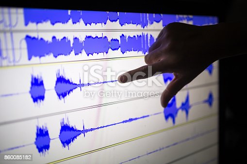 istock artist cut audio signal in the touch screen computer 860085182