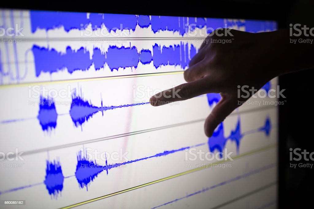 artist cut audio signal in the touch screen computer stock photo