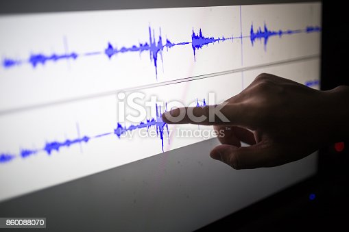 istock artist cut audio signal in the touch screen computer 860088070
