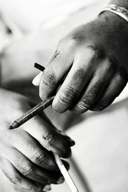 Artist Holding Pencil stock photo