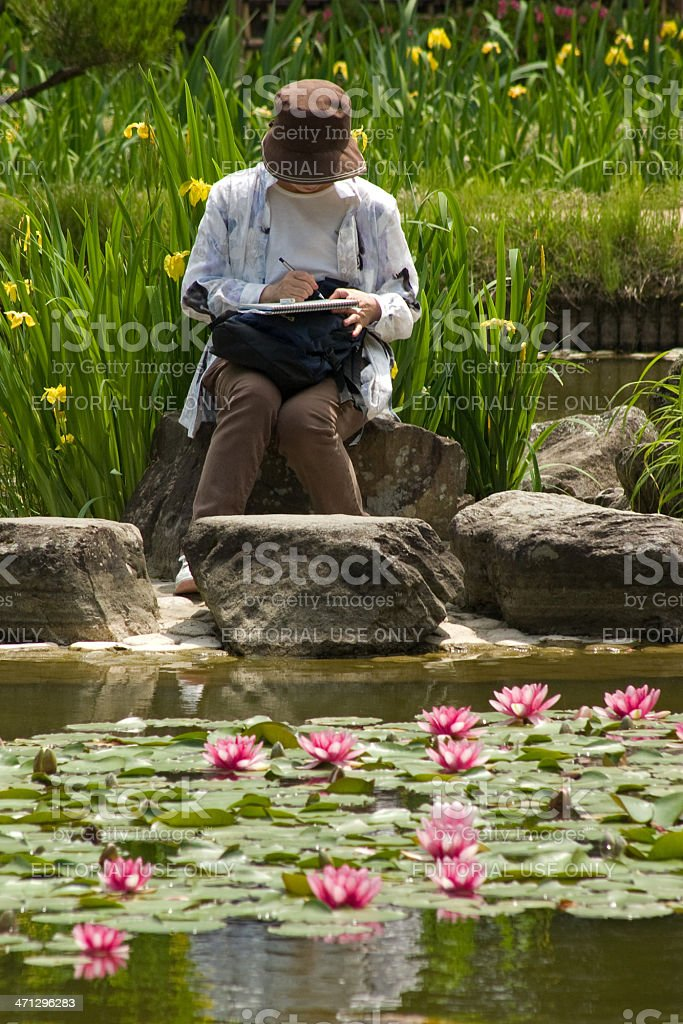 Artist in the japanese garden royalty-free stock photo