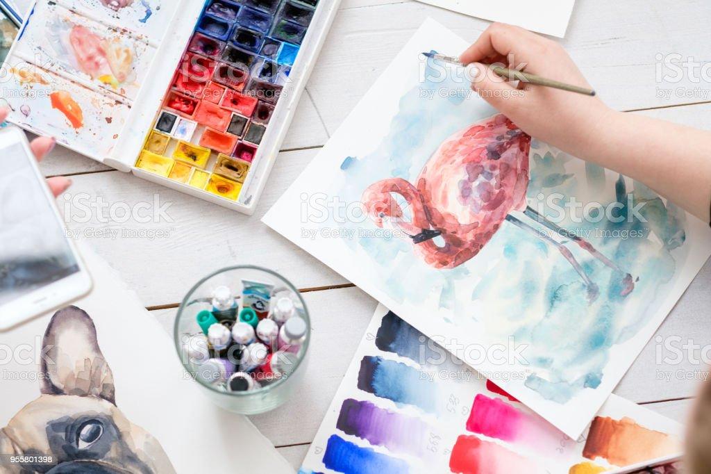 manía de artista instrumento muestra acuarela pintura - foto de stock