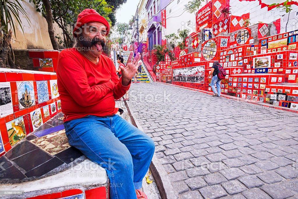 Artist Jorge Selaron at Escadaria Selaron, Rio de Janeiro, Brazil stock photo