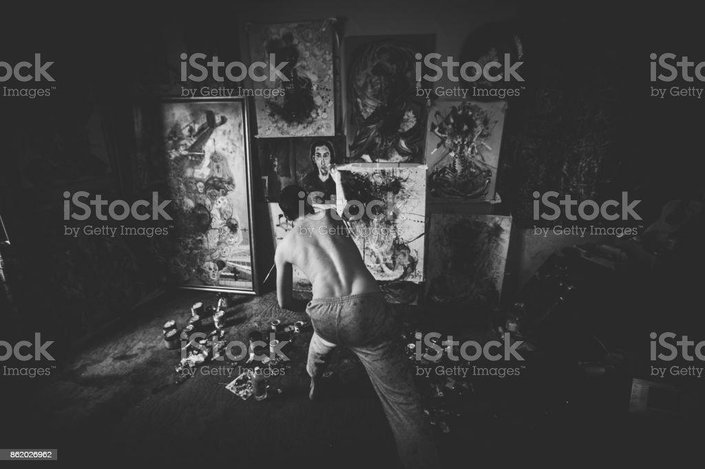 Artist making magic stock photo