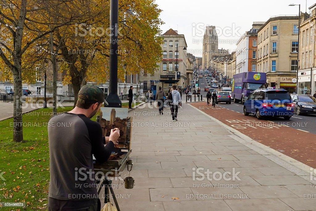 Artist on College Green, Bristol stock photo