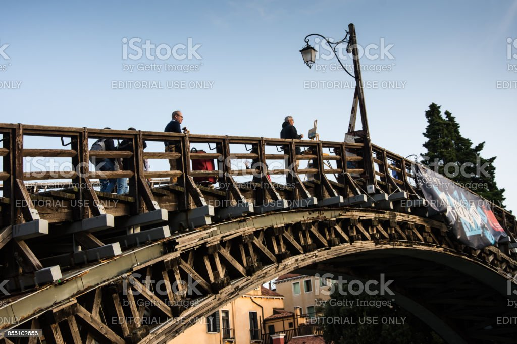 Artist on the Ponte Dell'Accademia. stock photo