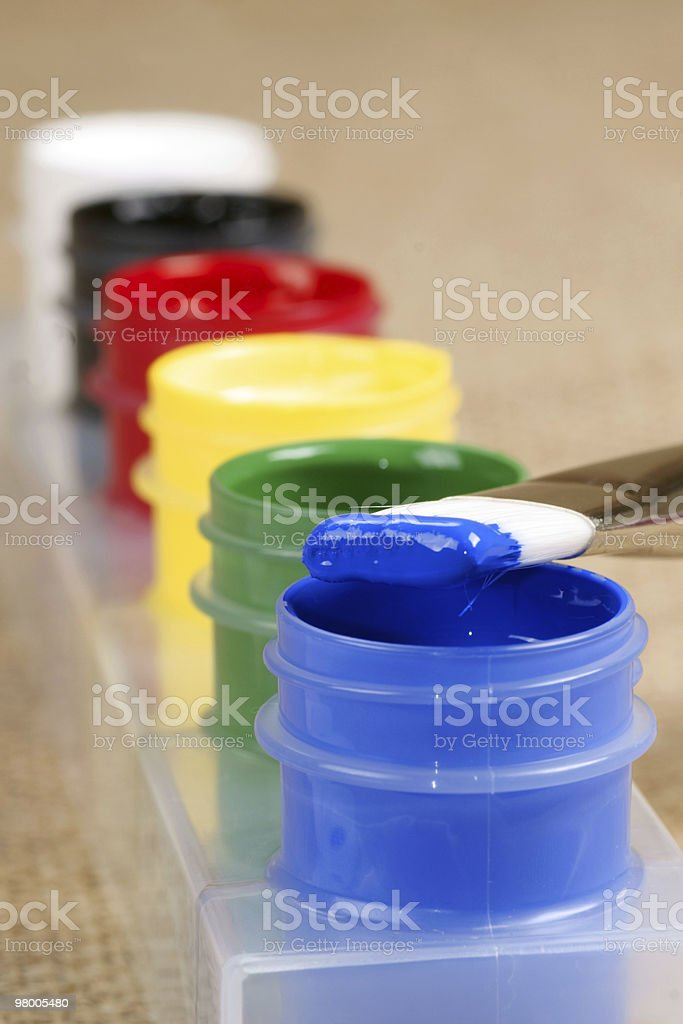 artist paint brush and jars royalty-free stock photo