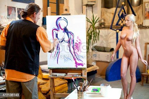 istock Artist painter working in studio 472135143