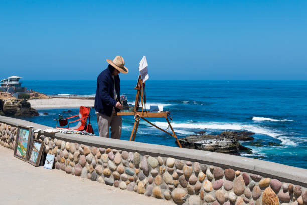 Artist Painting at La Jolla Shores Park stock photo