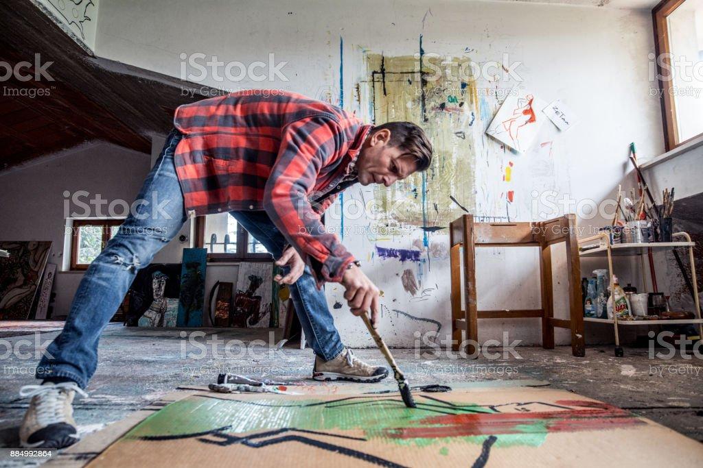 Künstler Malen Leinwand Karton Auf Boden Stock Fotografie Und Mehr