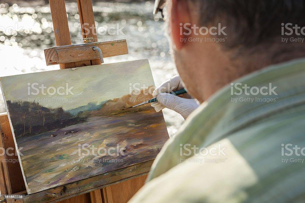 Artist Painting Landscape stock photo