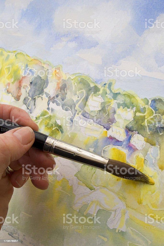 Artist painting stock photo