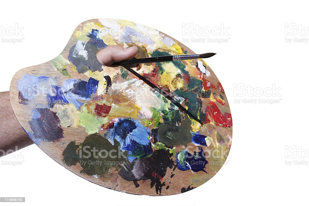 Artist palette with clipping path royalty-free stock photo