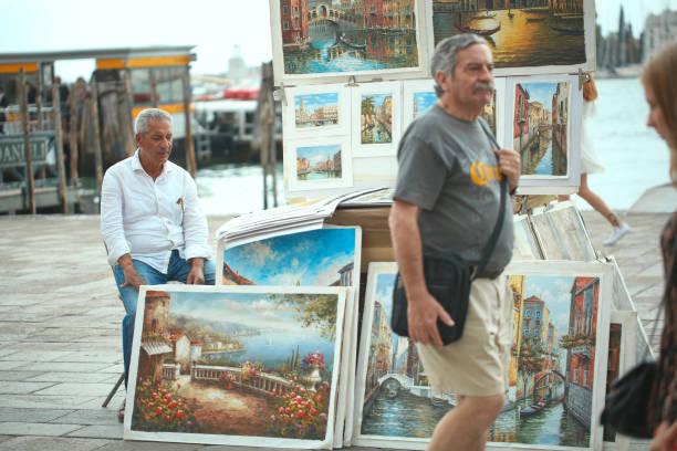 Artist - Venice Italy stock photo
