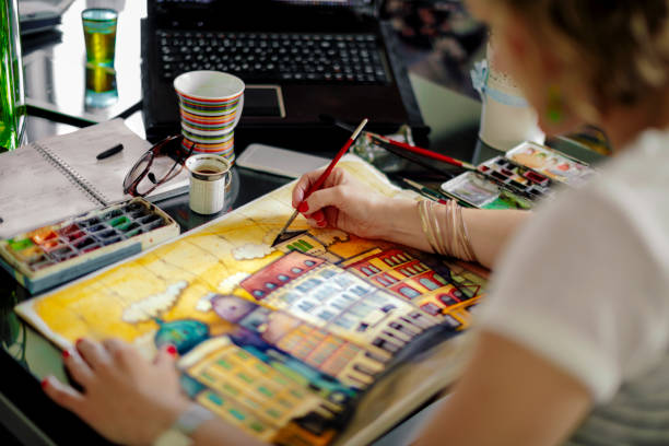 Artist working at home Artist working at home illustrator stock pictures, royalty-free photos & images