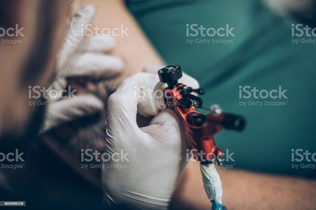 Artist working stock photo