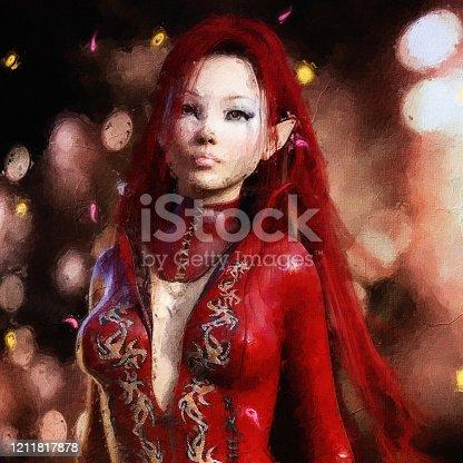 istock Artistic 3D illustration of a fantasy female 1211817878