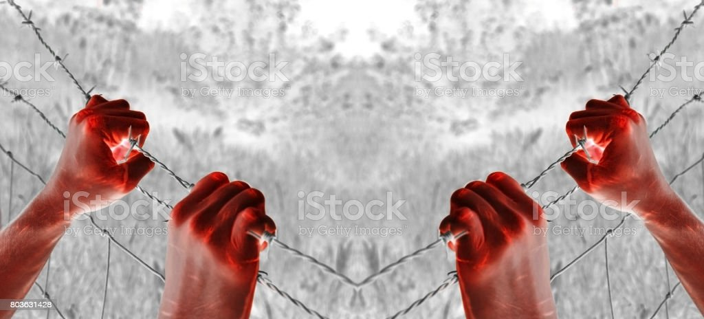 Artistic blood tortured hand grasping desperately barbed wire stock photo