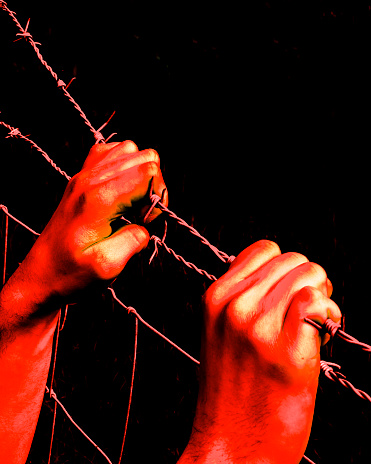 istock Artistic bloody hands grasping desperately barbed wire 869184152